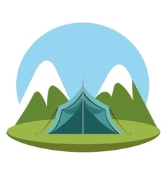 Camping landscape mountains icon vector