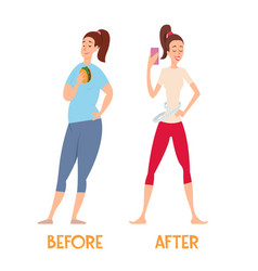 Changes before and after a diet slim and fat vector