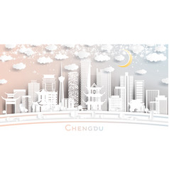 chengdu china city skyline in paper cut style vector image