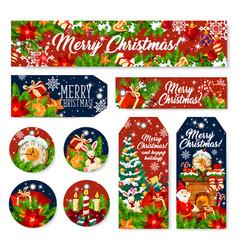 christmas gift tag and holiday greeting banner vector image
