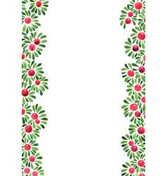 Christmas plants decoration border watercolor vector