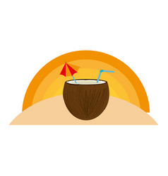 coconut cocktail summer icon vector image