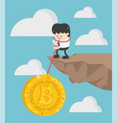 Concept bitcoin loss businessman vector