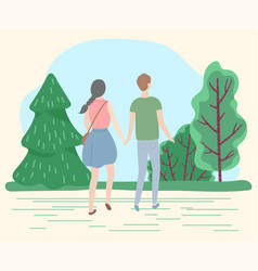 Couple on date in park man and woman walking vector