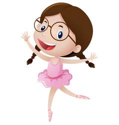 Cute girl in ballet costume vector