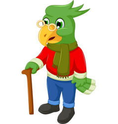 Cute old parrot cartoon holding a stick vector