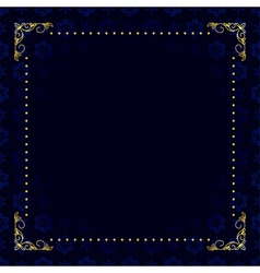 Dark blue card with gold frame vector