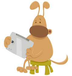 Dog with tablet cartoon vector