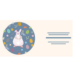 easter bunny with eggs and text frame template vector image