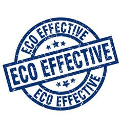 Eco effective blue round grunge stamp vector