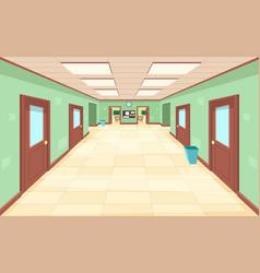 empty corridor with closed and open doors vector image