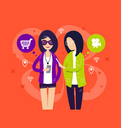 Fashionable girls with smartphones vector