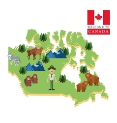 Forest animals Canada icon cartoon design vector image