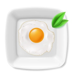 Fried eggs served on white plate vector image
