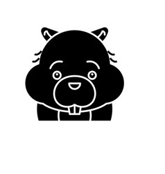 funny beaver black icon sign on isolated vector image
