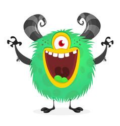Funny cartoon alien with one eye clipart vector