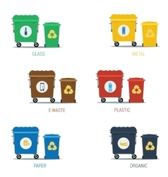 Garbage various types cans set vector