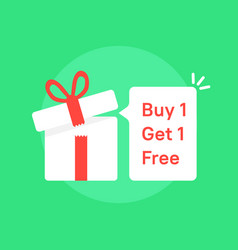 Giftbox with buy 1 get one free promo vector