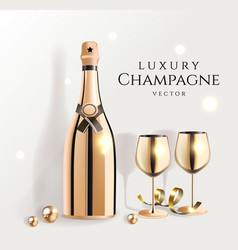 gold champagne bottles with wine glasses luxury vector image