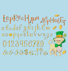 Gold letters of a st patrick s day alphabet set vector