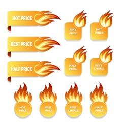 Gold price and sale icons with flames of fire vector