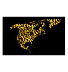 golden mosaic map of north america and greenland vector image