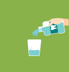 Hand pouring mouthwash into glass vector