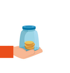 Hand with moneybox and coins isolated icon vector