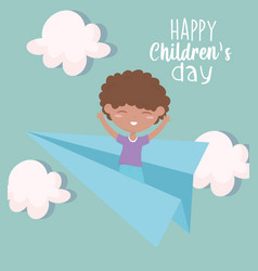 Happy childrens day little boy playing on paper vector
