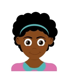 Happy girl with dark skin icon vector