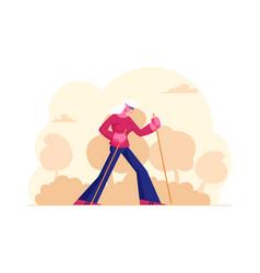 Happy pensioner woman healthy lifestyle vector