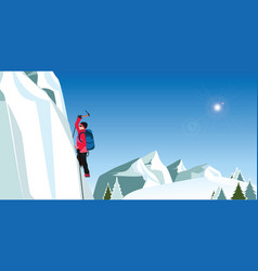 Ice climber in red coat with axes climbing a vector
