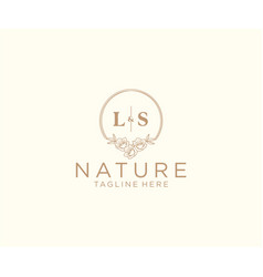 Initial ls letters floral frames botanical vector
