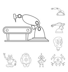 isolated object of robot and factory symbol set vector image