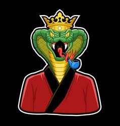 King cobra mascot cobra with crown vector