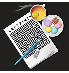 Labyrinth game with lemon tea and macaroons vector