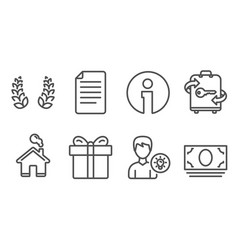 Laurel wreath gift box and file icons person vector