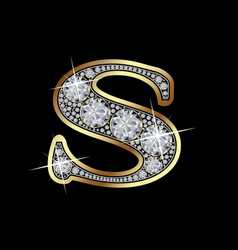 Letter s with diamonds vector