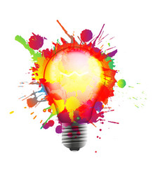 light bulb made colorful grunge splashes vector image