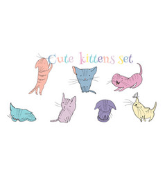 Little kittens set vector image