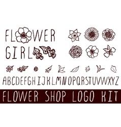 Logo kit for flower shops vector