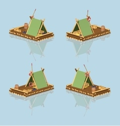 Low poly wooden raft vector image