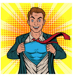 male businessman superhero pop art retro il vector image