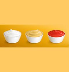 Mayonnaise mustard sauce and ketchup in bowls vector