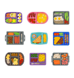 Meal trays filled with food for lunch collection vector