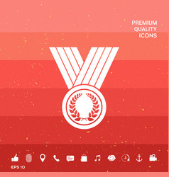Medal with laurel wreath icon vector