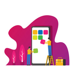 mobile application development concept with vector image