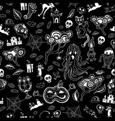 monochrome halloween doodle kids seamless pattern vector image