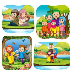 Muslim doing activities in the park vector image