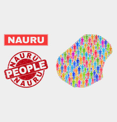 Nauru map population demographics and corroded vector